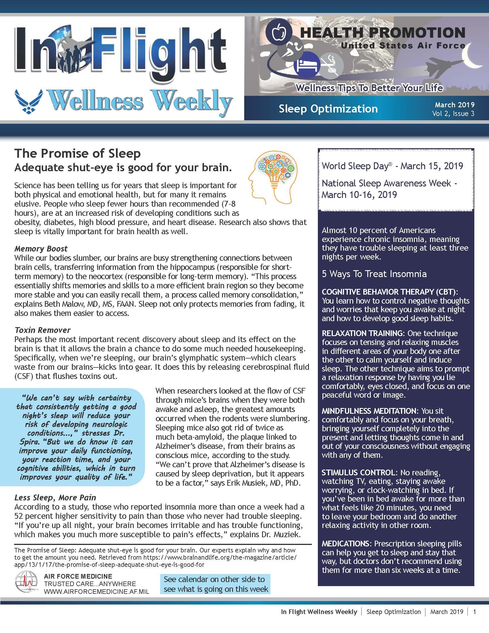 Health Promotion Wellness Weekly 4 - Sleep Optimization